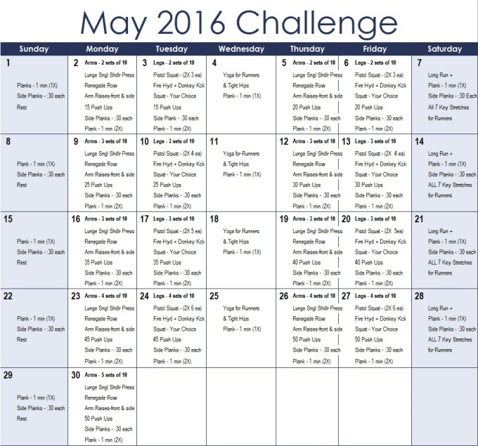 May 2016 Challenge Calender