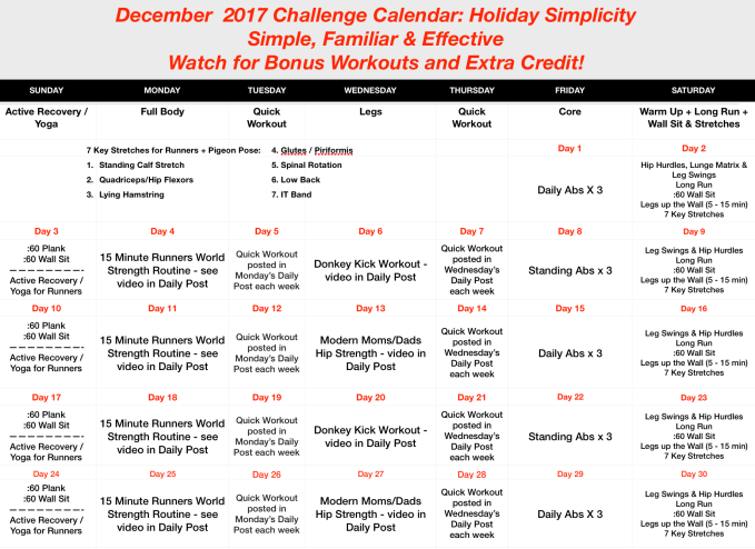 December 2017 Challenge Calendar: Holiday Simplicity
