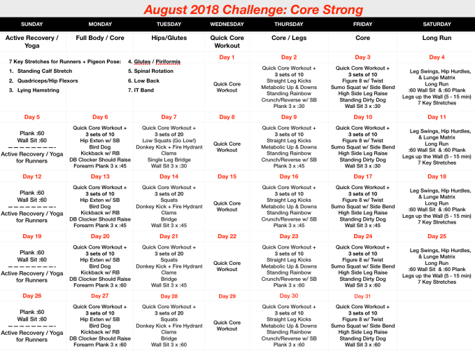August 2018 Challenge - Core Strong Revised